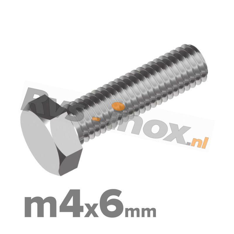 Zeskantbout, RVS A2, DIN 933, M4x6mm