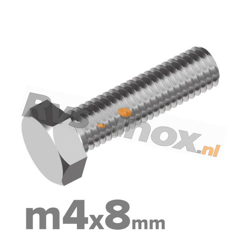 Zeskantbout, RVS A2, DIN 933, M4x8mm
