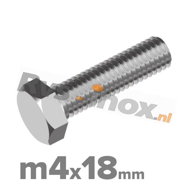 Zeskantbout, RVS A2, DIN 933, M4x18mm