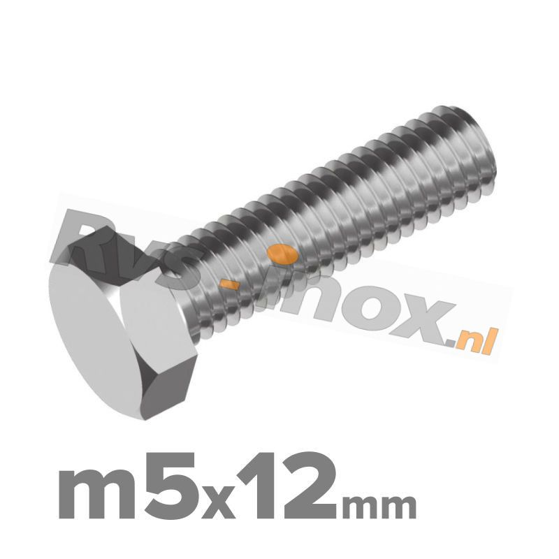 Zeskantbout, RVS A2, DIN 933, M5x12mm