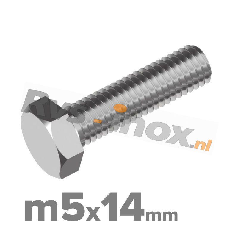 Zeskantbout, RVS A2, DIN 933, M5x14mm