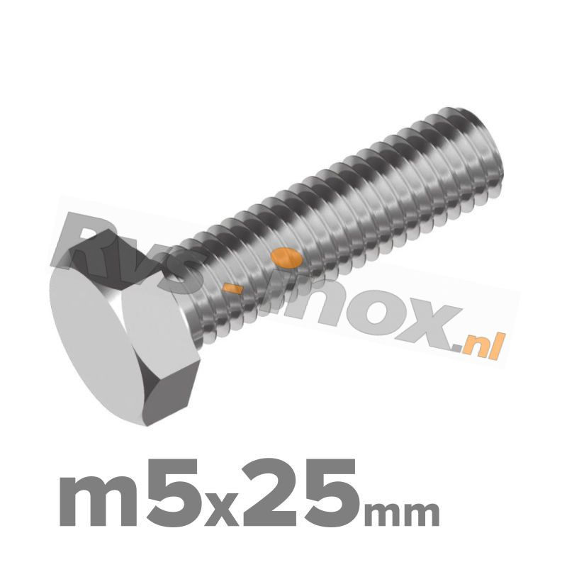 Zeskantbout, RVS A2, DIN 933, M5x25mm