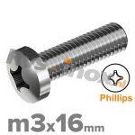 m3x16mm DIN 7985 H A2