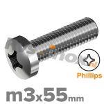 m3x55mm DIN 7985 H A2