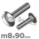 m8x90mm DIN 603 A2