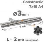 3mm / L 2mtr (7x19) A4