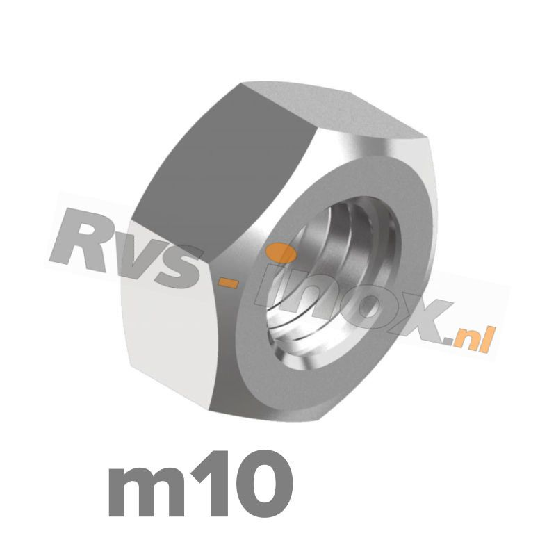 m10   Rvs zeskantmoer DIN 934 Roestvaststaal A2   DIN 934 A2 M 10 Hexagon nut