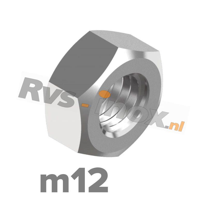 m12   Rvs zeskantmoer DIN 934 Roestvaststaal A2   DIN 934 A2 M 12 Hexagon nut