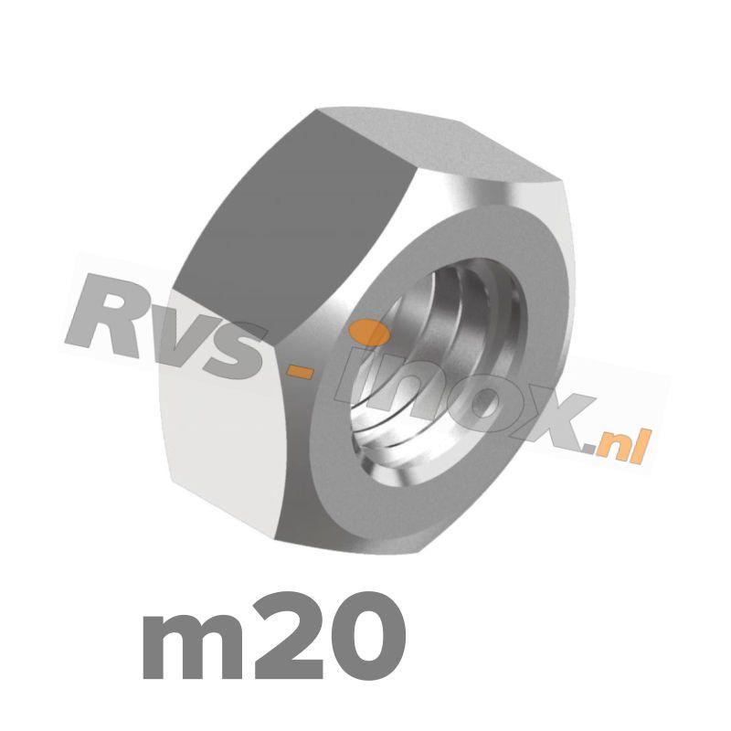 m20   Rvs zeskantmoer DIN 934 Roestvaststaal A2   DIN 934 A2 M 20 Hexagon nut