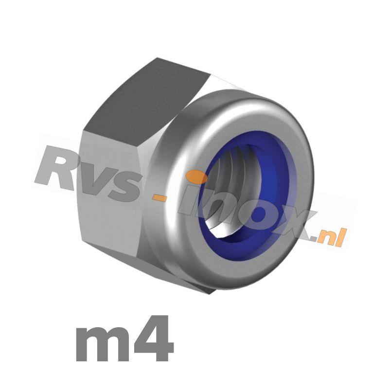 m4 | Rvs zelfborgende zeskantmoer DIN 985 Roestvaststaal A2 | DIN 985 A2 M 4 Self-locking Hexagon nuts, low type