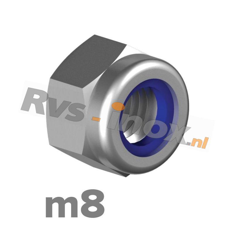 m8 | Rvs zelfborgende zeskantmoer DIN 985 Roestvaststaal A2 | DIN 985 A2 M 8 Self-locking Hexagon nuts, low type