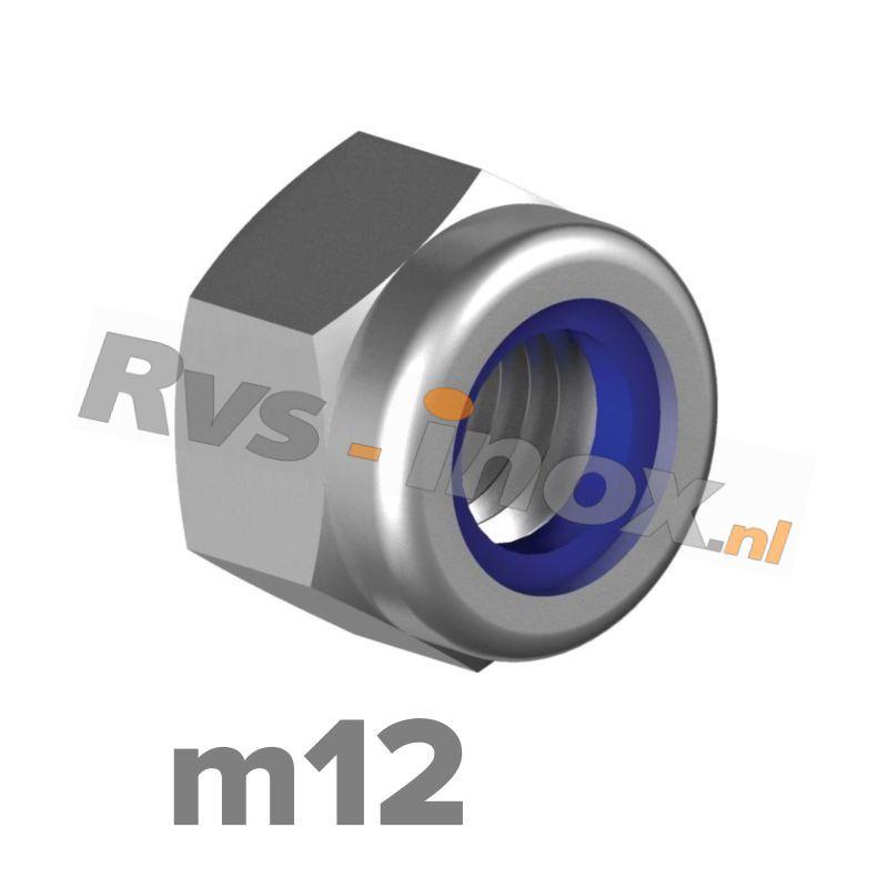 m12   Rvs zelfborgende zeskantmoer DIN 985 Roestvaststaal A2   DIN 985 A2 M 12 Self-locking Hexagon nuts, low type