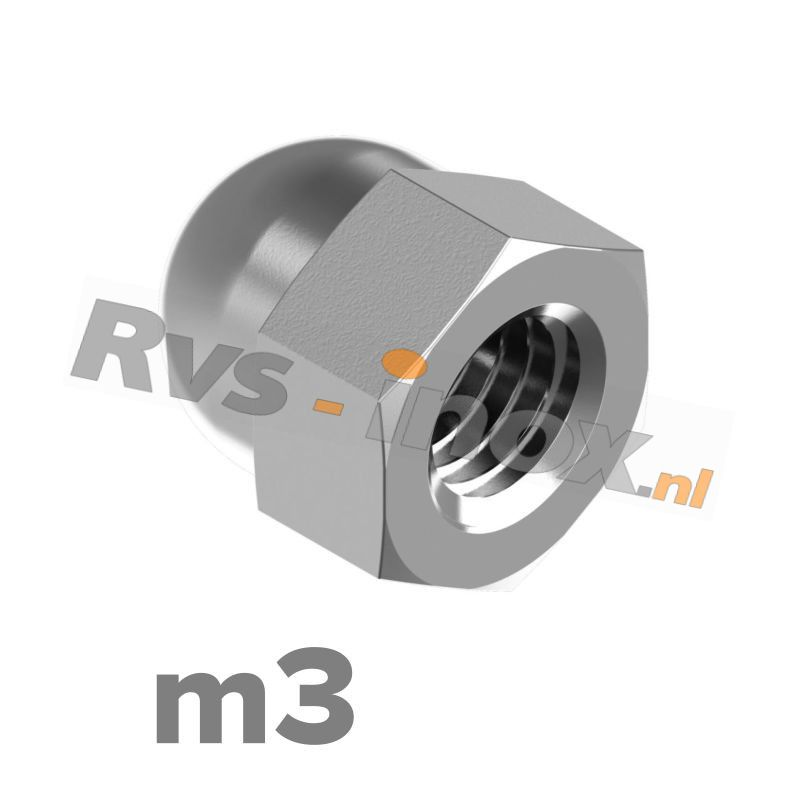 m3 | Rvs dopmoer DIN 1587 Roestvaststaal A2 | DIN 1587 A2 M 3 Hexagon domed cap nuts, pressed form