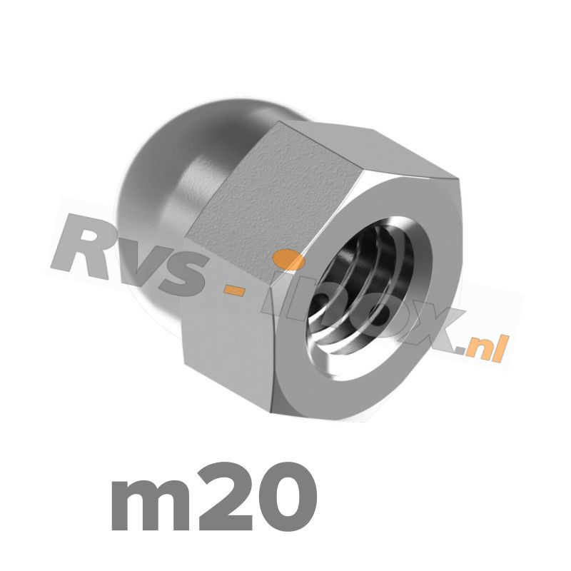 m20 | Rvs dopmoer DIN 1587 Roestvaststaal A2 | DIN 1587 A2 M 20 Hexagon domed cap nuts, pressed form