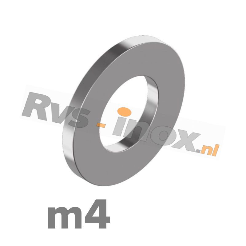 m4 | Rvs vlakke sluitring DIN 125A Roestvaststaal A2 | DIN 125A A2 M 4 Washer type A