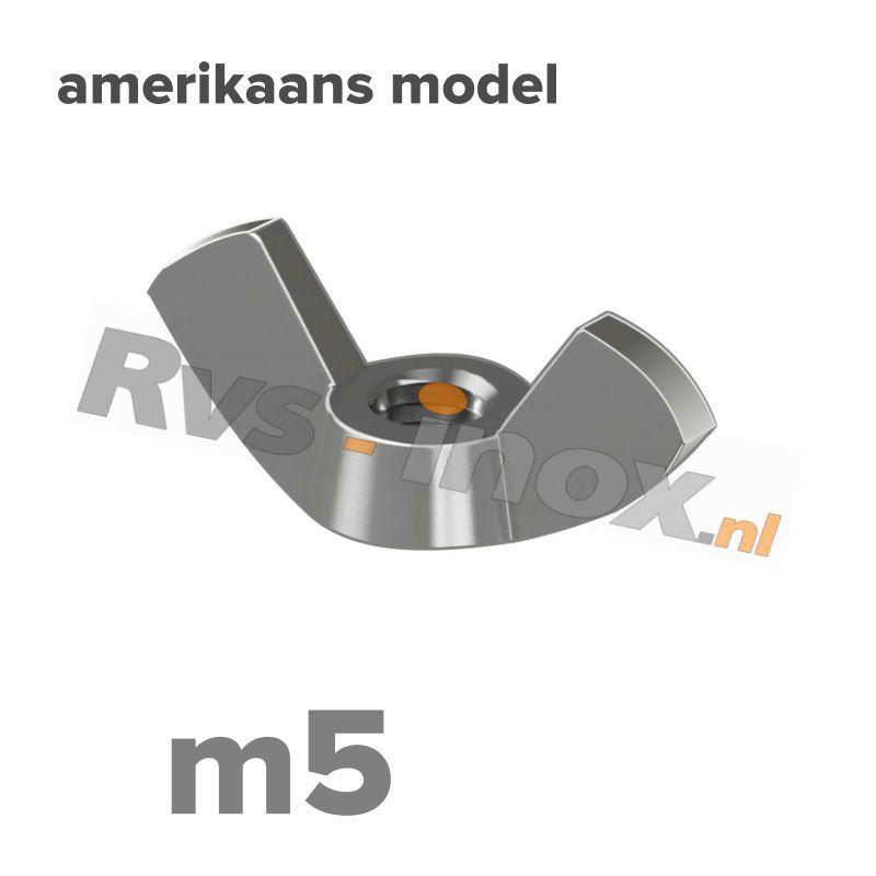 m5 | Rvs vleugelmoer Art. 315 Roestvaststaal A2 | Art. 315 A2 M 5 Wing nut, American type