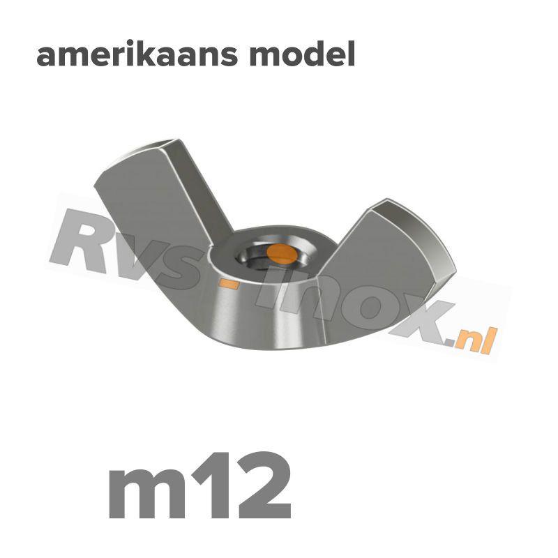 m12 | Rvs vleugelmoer Art. 315 Roestvaststaal A2 | Art. 315 A2 M 12 Wing nut, American type