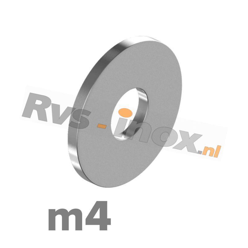 m4 | Rvs vlakke sluitring DIN 9021 Roestvaststaal A2 | DIN 9021 A2 M 4 - Washers outside diameter ~ 3 x thread diameter