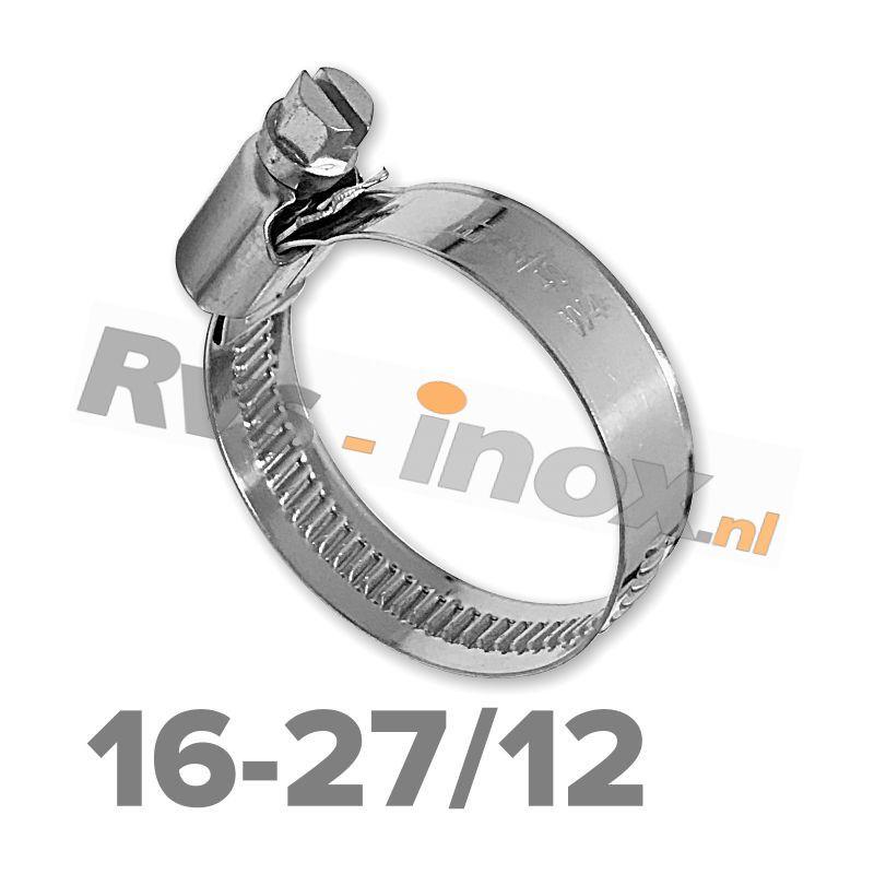 Slangklem DIN 3017 Rvs A2 ( W4 ) 16-27mm / bandbreedte 12mm