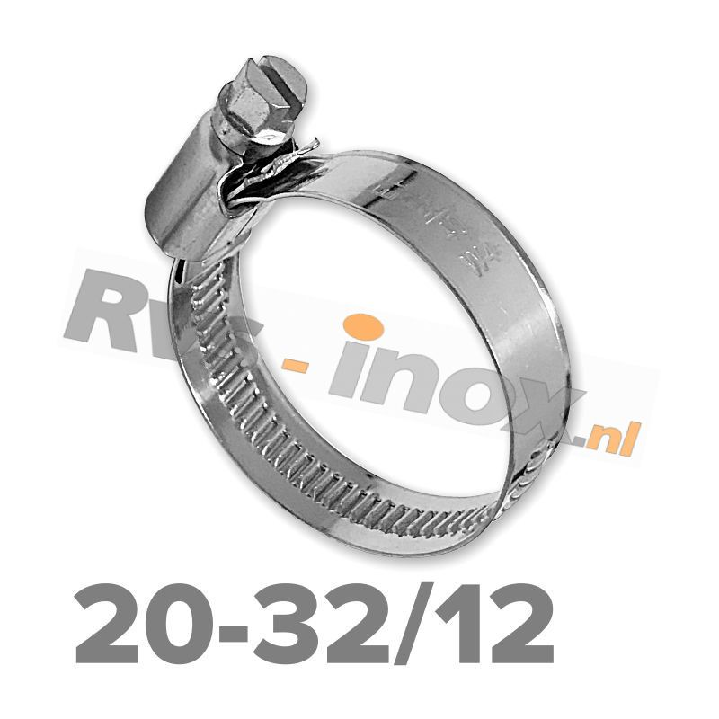 Slangklem DIN 3017 Rvs A2 ( W4 ) 20-32mm / bandbreedte 12mm