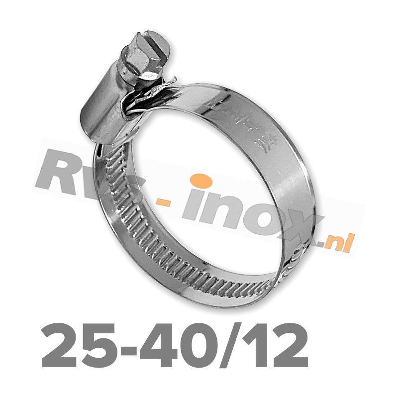 Slangklem DIN 3017 Rvs A2 ( W4 ) 25-40mm / bandbreedte 12mm