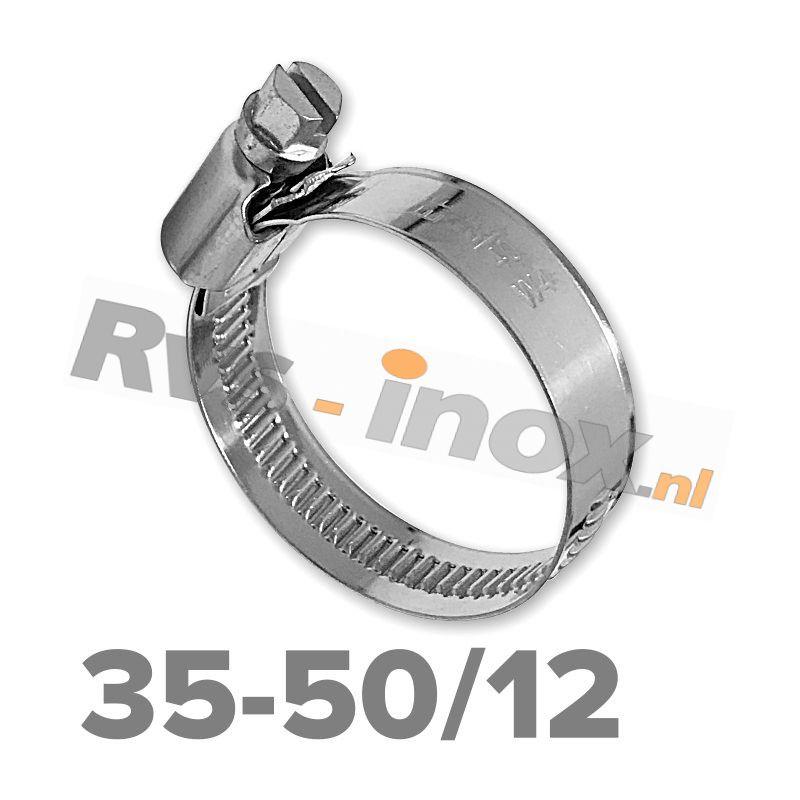 Slangklem DIN 3017 Rvs A2 ( W4 ) 35-50mm / bandbreedte 12mm