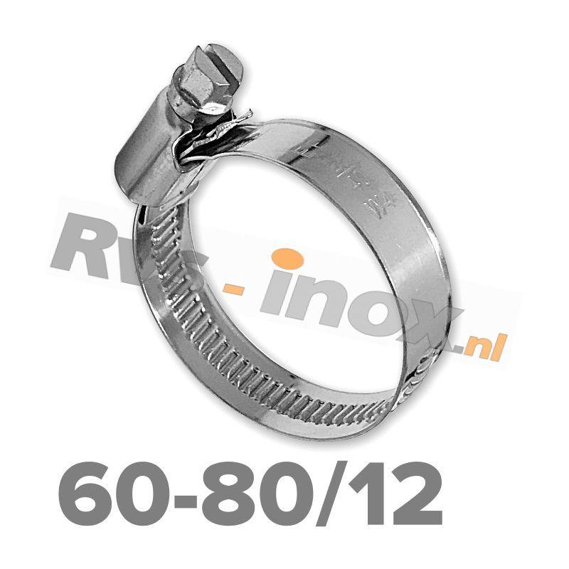 Slangklem DIN 3017 Rvs A2 ( W4 ) 60-80mm / bandbreedte 12mm