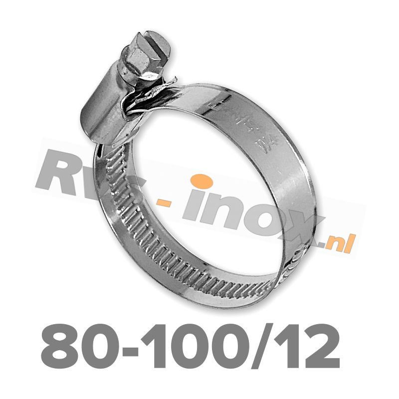 Slangklem DIN 3017 Rvs A2 ( W4 ) 80-100mm / bandbreedte 12mm