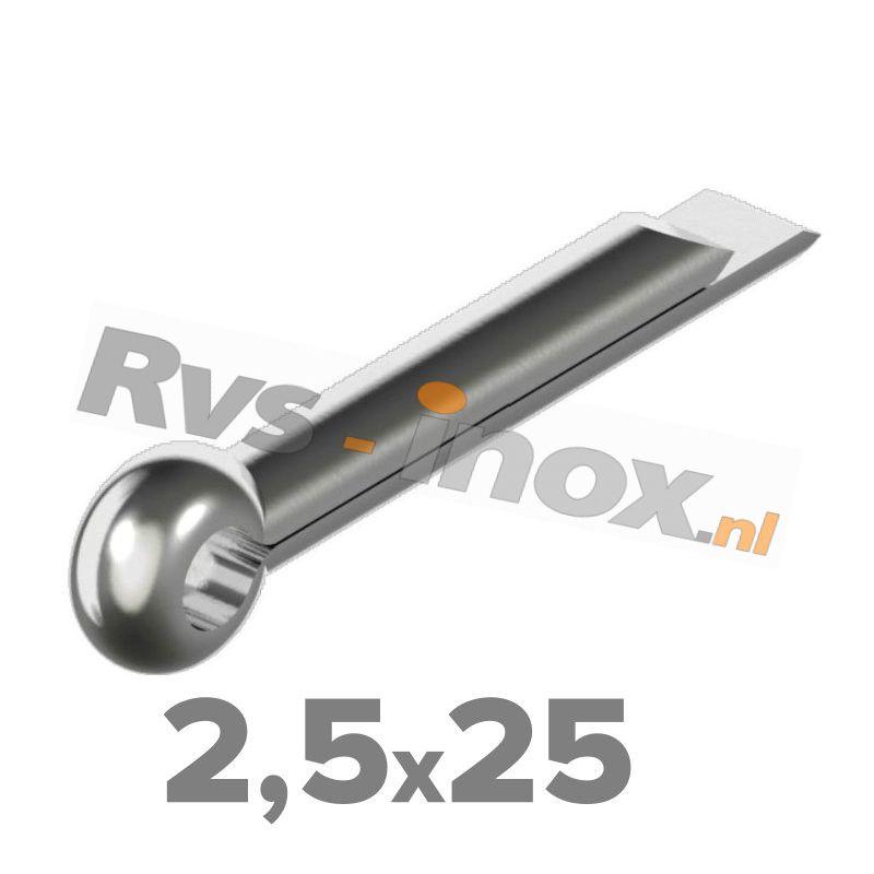 2,5x25mm   Rvs splitpen DIN 94 Roestvaststaal A2   DIN 94 A2 2,5x25 Split pin
