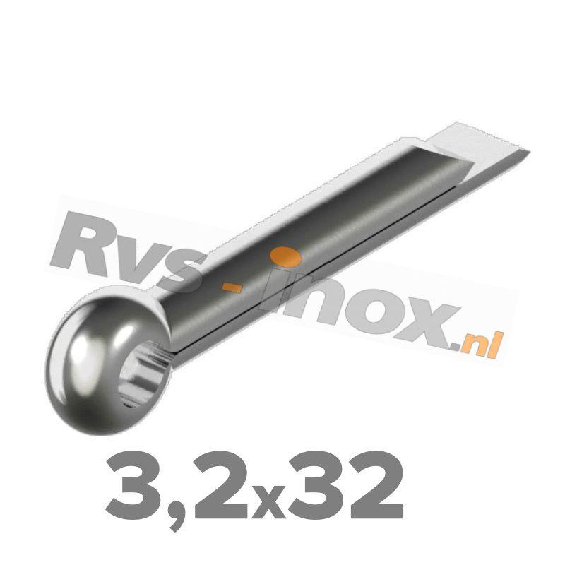 3,2x32mm   Rvs splitpen DIN 94 Roestvaststaal A2   DIN 94 A2 3,2x32 Split pin