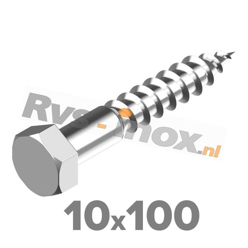 10x100mm | Rvs houtdraadbout ( deeldraad ) DIN 571 Roestvaststaal A2 | DIN 571 A2 10x100 Hexagon head wood screws
