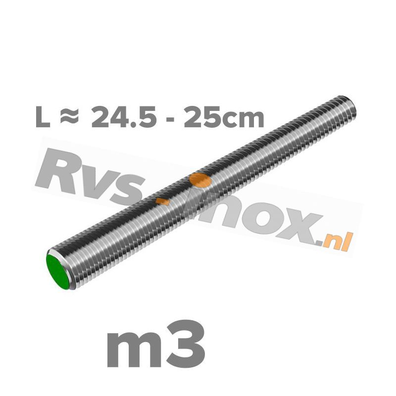 Rvs draadeind m3 A2 | lengte 24,5-25cm