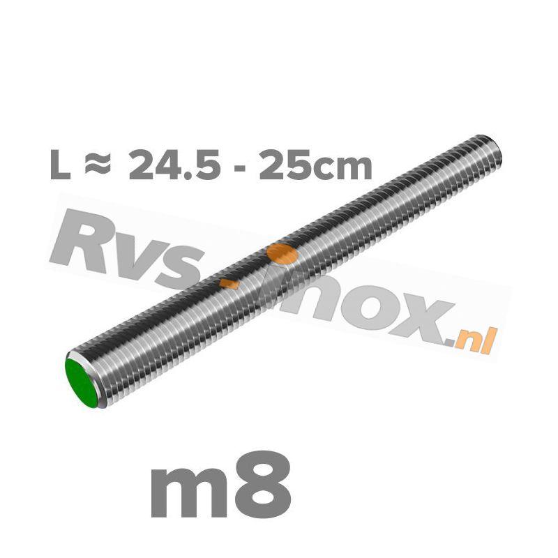 Rvs draadeind m8 A2   lengte 24,5-25cm