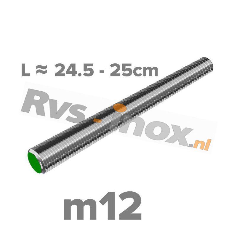 Rvs draadeind m12 A2 | lengte 24,5-25cm