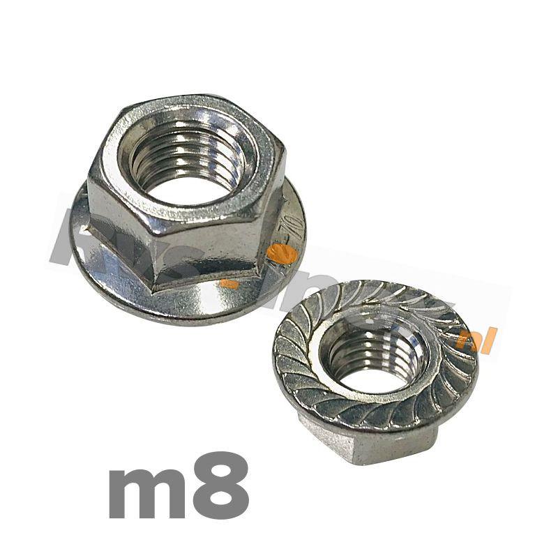 m8 | Rvs zeskantflensmoer met vertanding DIN 6923 Roestvaststaal A2 | DIN 6923 A2 M 8 Hexagon flange nut with serration