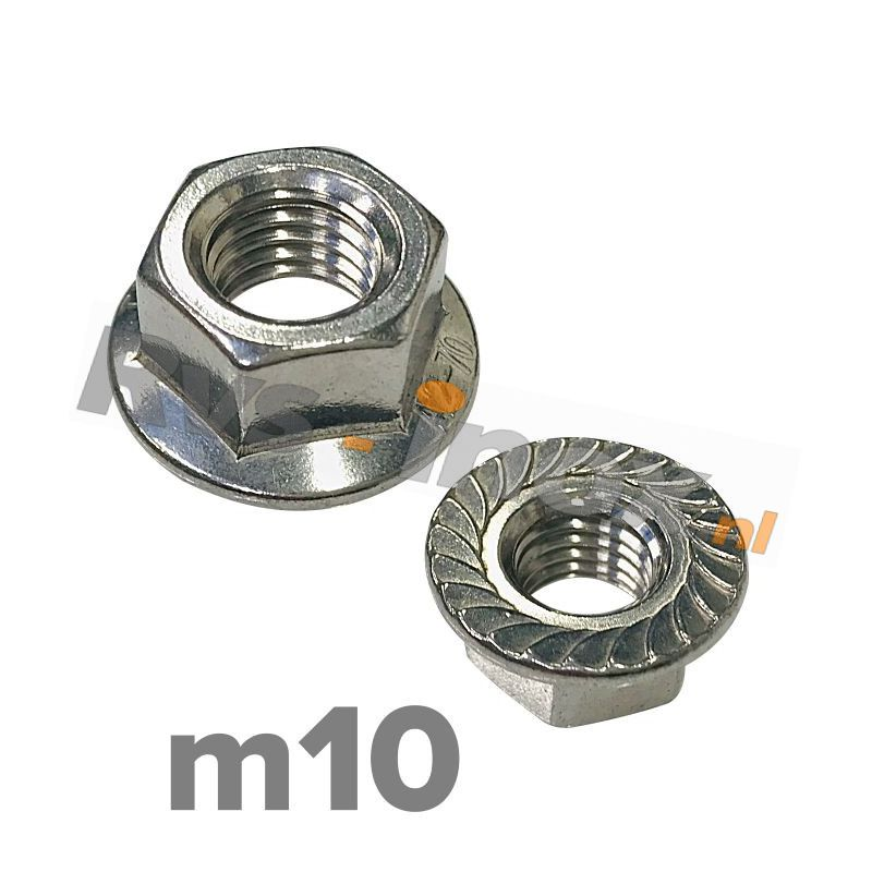 m10   Rvs zeskantflensmoer met vertanding DIN 6923 Roestvaststaal A2   DIN 6923 A2 M 10 Hexagon flange nut with serration