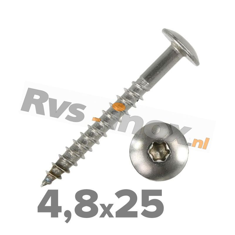 4,8x25mm | Rvs houtschroef  torx ( deeldraad ) Art. 9086 Roestvaststaal A2 | Art. 9086 A2 4,8x25 Truss head wood screws