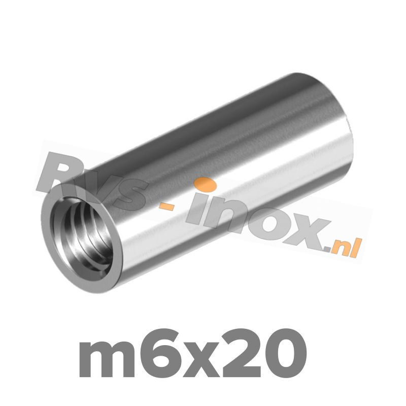 m6x20 | Rvs koppelmoer rond  Art. 9070 Roestvaststaal A2 | Art. 9070 A2 M 6x20 Round coupler nuts