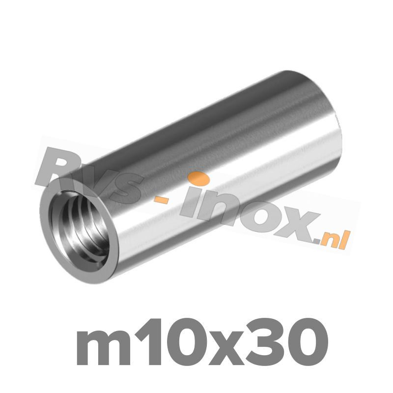 m10x30 | Rvs koppelmoer rond  Art. 9070 Roestvaststaal A2 | Art. 9070 A2 M 10x30 Round coupler nuts