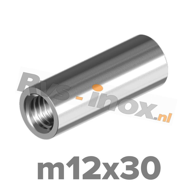 m12x30 | Rvs koppelmoer rond  Art. 9070 Roestvaststaal A2 | Art. 9070 A2 M 12x30 Round coupler nuts