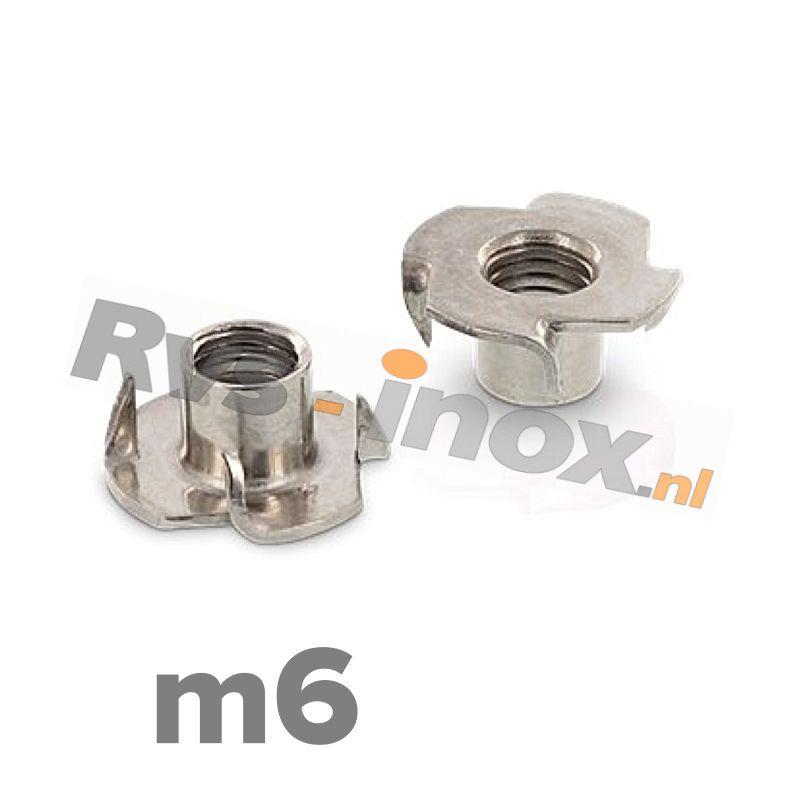 m6 | Rvs inslagmoer voor hout  Art. 9260 Roestvaststaal A2 | Drive-in nuts / Tee-Nuts