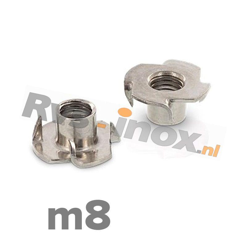 m8 | Rvs inslagmoer voor hout  Art. 9260 Roestvaststaal A2 | Drive-in nuts / Tee-Nuts