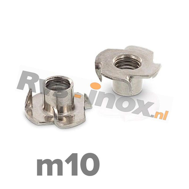 m10 | Rvs inslagmoer voor hout  Art. 9260 Roestvaststaal A2 | Drive-in nuts / Tee-Nuts
