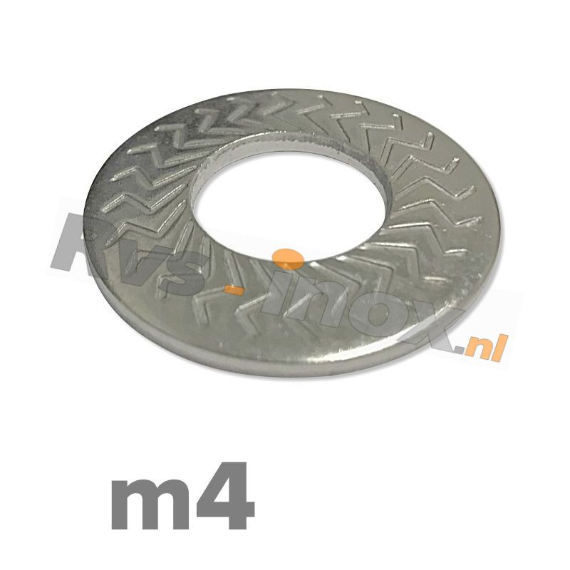 m4   Rvs borgschotelveerring Art. 9217 Roestvaststaal A2   M 4 Z-type serrated conical spring washers type M