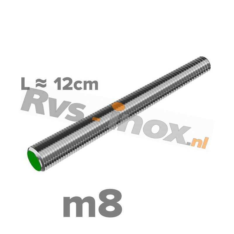 Rvs draadeind m8 A2 | lengte 12cm