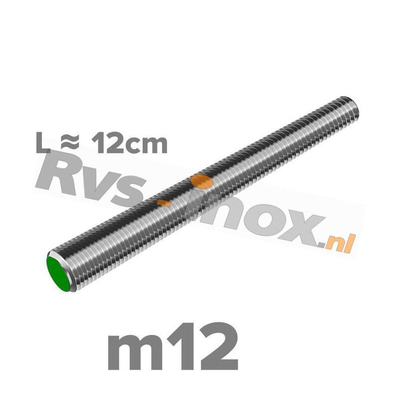 Rvs draadeind m12 A2 | lengte 12cm