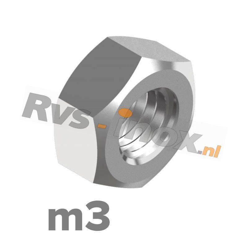 m3 | Rvs zeskantmoer m3 DIN 934 Roestvaststaal A2 | DIN 934 A2 M 3 Hexagon nut