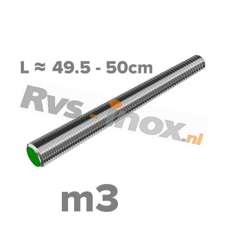 Rvs draadeind m3 A2   lengte 49,5-50cm