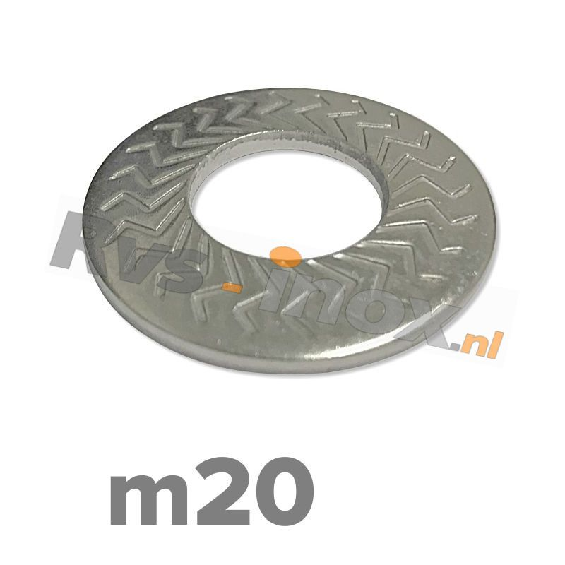 m20 | Rvs borgschotelveerring Art. 9217 Roestvaststaal A2 | M 20 Z-type serrated conical spring washers type M