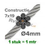 RVS Staaldraad 4mm - constructie 7x19
